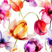 Patrones sin fisuras con flores de los tulipanes — Foto de Stock