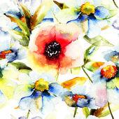无缝模式与花 — 图库照片