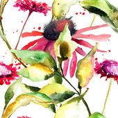 Seamless pattern with stylized wild flowers — Stok fotoğraf