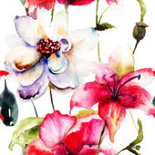 Ilustração em aquarela de flores coloridas — Fotografia Stock