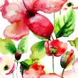 Seamless pattern with Beautiful Lily and Poppy flowers — ストック写真