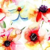 无缝壁纸同夏季花卉 — 图库照片