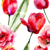 Seamless wallpapers with Tulips flowers — Stock Photo