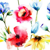 Watercolor illustration of wild flowers — Stock Photo