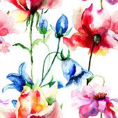 Carta da parati senza soluzione di continuità con fiori selvatici — Foto Stock