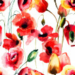 Seamless pattern with Poppy and Tulips flowers — Stock Photo #40844075