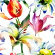Stock Photo: Seamless wallpaper with Lily and Tulips flowers