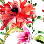 Seamless wallpaper with original beautiful flowers — Stock Photo