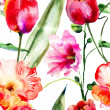 Seamless wallpapers with decorative flowers — Stock Photo