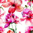 Seamless pattern with Lily and Peony flowers illustration — 图库照片