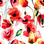Seamless pattern with Poppy and Tulips flowers — Stock Photo