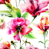 Seamless pattern with Original Summer flowers — Stock Photo
