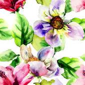 Original seamless wallpaper with wild flowers — Stock Photo