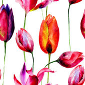 Aquarell abbildung von tulpen blumen — Stockfoto