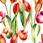Seamless wallpaper with Original Tulips flowers — Stock Photo