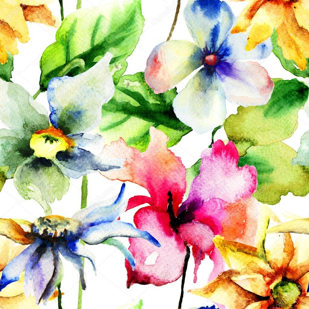 Fond décran sans couture avec les fleurs dété coloré \u2013 Image
