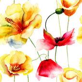 красочные бесшовный фон с цветами — Стоковое фото