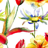 Watercolor painting of Tulips and Lily flowers — Foto Stock