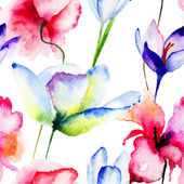 Seamless wallpaper with spring flowers — Photo
