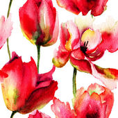 无缝壁纸郁金香花 — 图库照片