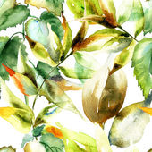 Watercolor illustration of green leaves — Stock Photo
