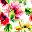 Seamless wallpaper with summer flowers — Stock Photo