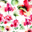 Seamless wallpaper with Geranium and Rose flowers — Stock Photo