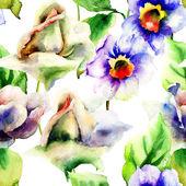 バラやスイセン花の水彩画 — ストック写真
