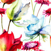 Watercolor illustration of Summer flowers — Stock Photo