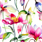 Watercolor seamless pattern with flowers — Stock Photo
