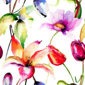 Watercolor painting of Tulips and Lily flowers — Stockfoto