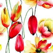 Watercolor illustration of Tulips an Gerbera flowers — Foto Stock
