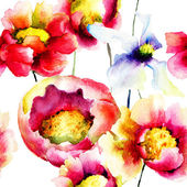 Colorful summer flowers, seamless pattern — ストック写真