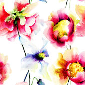 Watercolor illustration of colorful flowers — ストック写真