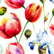 Seamless pattern with Iris and Tulips flowers — Stock Photo