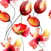 Watercolor illustration with original red flowers — Stock Photo