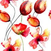 Ilustração em aquarela com flores vermelhas originais — Fotografia Stock
