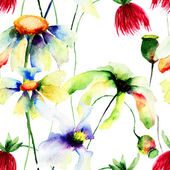 Seamless wallpaper with wild flowers — Stock Photo