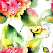 Seamless pattern with Beautiful Hydrangea flowers — Stock Photo