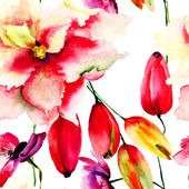 Seamless wallpaper with red summer flowers — Stock Photo