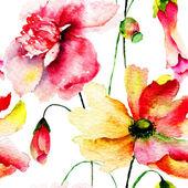 Stylized red flowers illustration — Stock Photo
