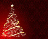Stylized Christmas tree on decorative damask background — Stock Photo
