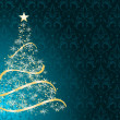 Stylized Christmas tree on decorative damask background — Stockvectorbeeld