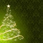 Stylized Christmas tree on decorative damask background — Stock Vector #12522580