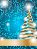 Stylized Christmas tree on decorative floral background — Stockvektor