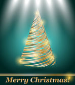 Stylized vector gold Christmas tree — Vector de stock