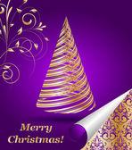程式化的矢量黄金圣诞树 — 图库矢量图片