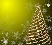 Стилизованные вектор золото елка на декоративный фон — Cтоковый вектор