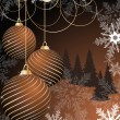 Stylized vector Christmas ball on winter decorative background — Stok Vektör