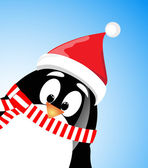 Vector cute Santa Claus Penguin on blue background — Stock Vector